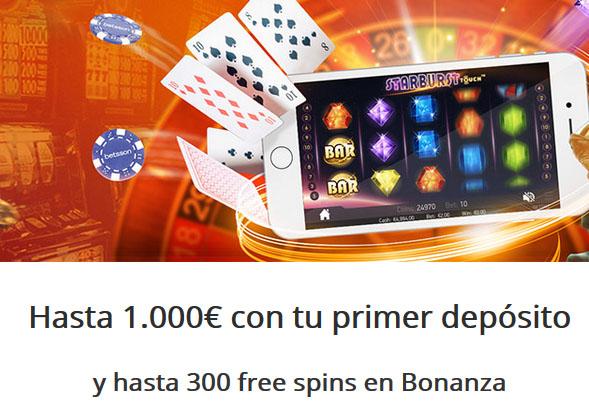 Betsson ofrece hasta 1000 euros de bono de bienvenida en casino