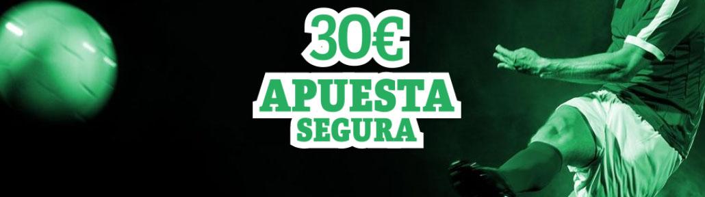 Consigue tu apuesta segura de 30 euros con Paf