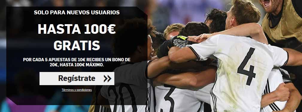 Hasta 100 euros de bono de bienvenida