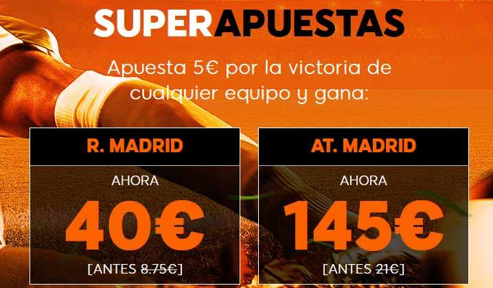 Super apuestas en el partido Real Madrid - Atlético de Madrid