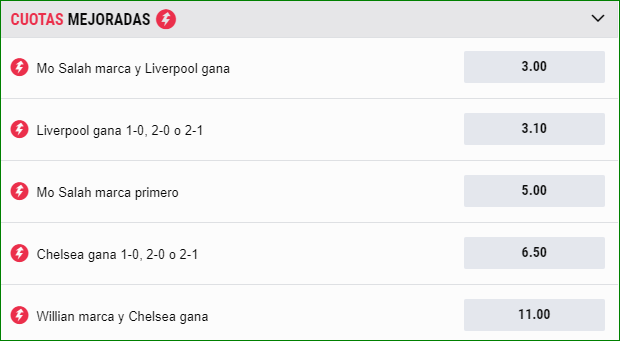 Apuestas Cuota Mejoradas Liverpool Chelsea