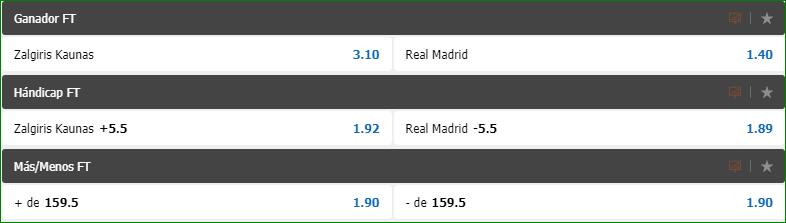 Apuestas Euroliga Zalgiris Real Madrid