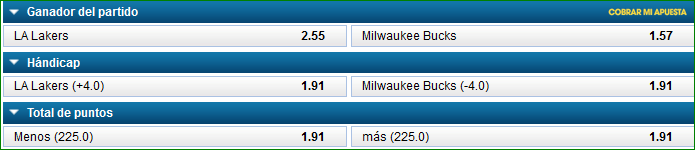 Apuestas NBA Lakers Bucks