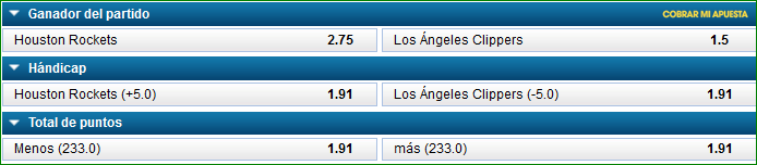 Apuestas NBA Rockets Clippers