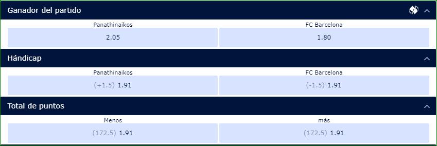 Apuestas Euroliga Pantahinaikos Barcelona